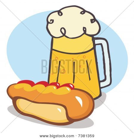 Garnished Hot Dog With Beer