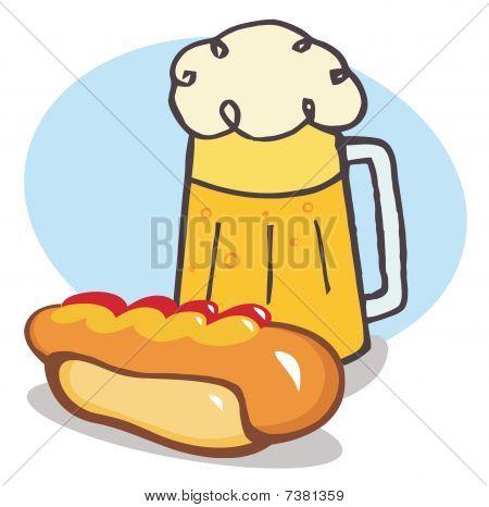 Garnished Hot Dog With Beer