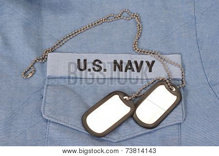 Us Navy Uniform With Blank Dog Tags