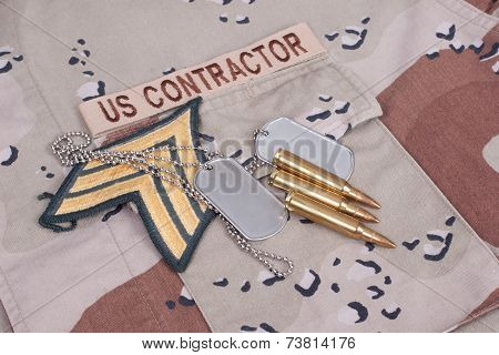 Us Contractor Uniform With Dog Tags, Cartridges  And Sergeant Rank Patch