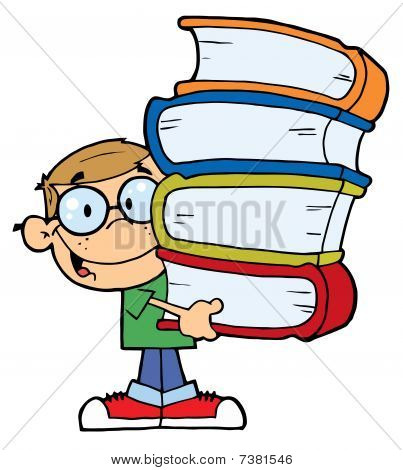 Smart Caucasian School Boy Carrying A Stack Of Books