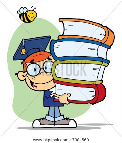Bee Over A Graduation Boy With Books In Their Hands