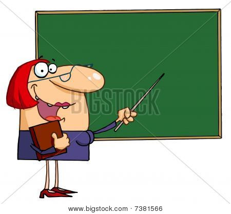 Female Teacher Pointing To A Chalkboard