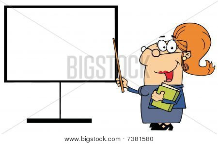 Happy Female Teacher Pointing To A Blank Board