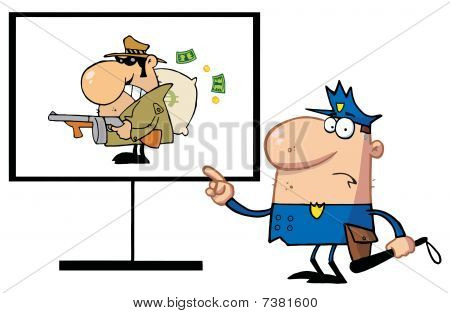 Police Man Pointing To A Robber Sign