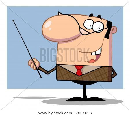 Business Manager Gesturing With A Pointer Stick,background