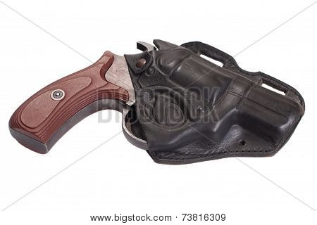 Revolver Gun And Leather Holster Isolated On White Background