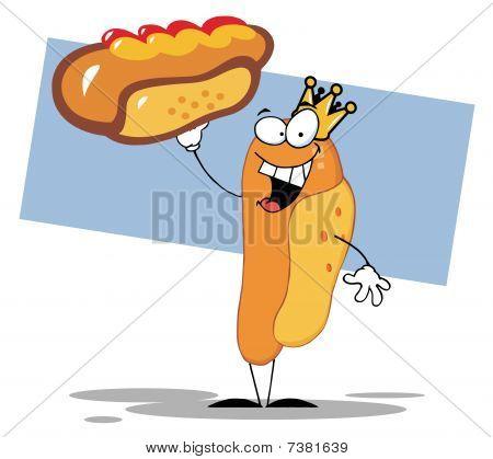 King Hot Dog Mascot Cartoon Character Showing XXL Hot Dog