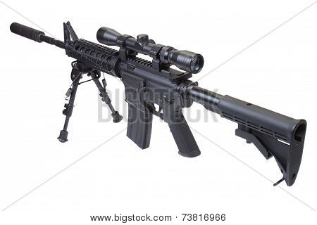 Rifle With Bipod Isolated On A White Background