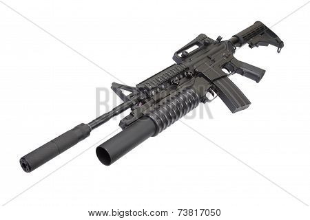 M4 Carbine With Silencer Equipped With An M203 Grenade Launcher