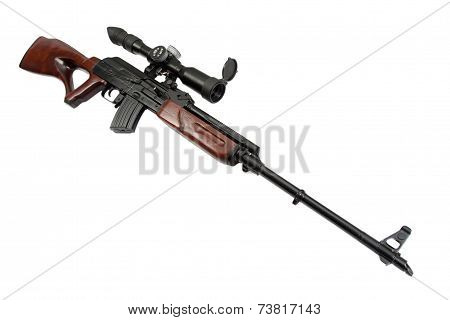 sniper rifle with optic sight isolated on white
