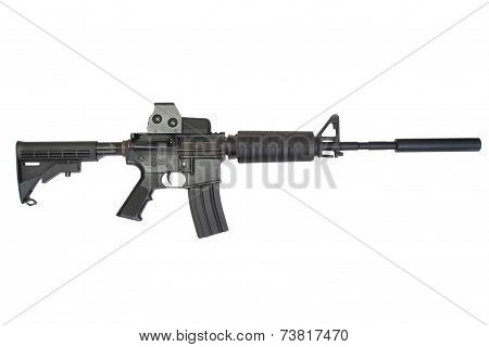 Carbine M4 With Silencer Isolated On A White Background
