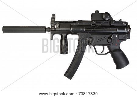 Submachine Gun With Silencer Isolated On A White Background