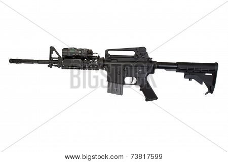 Us Army Carbine With Optical Sight Isolated On A White Background