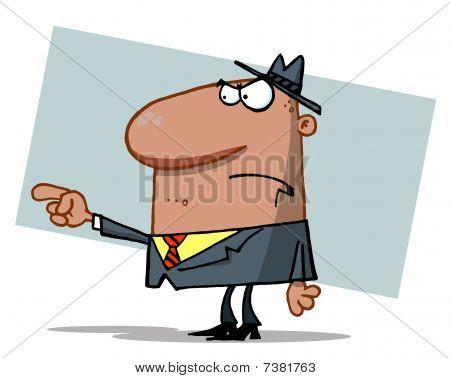 Angry schatten schattenwurf Mann zeigen die Schuld