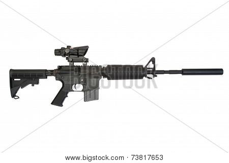 Firearms With Silencer Isolated On A White Background