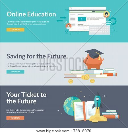 Flat design vector illustration concepts for online education, staff training, retraining, specializ