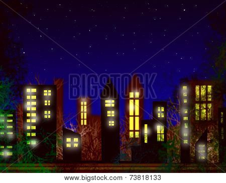Silhouette Of The City And Night