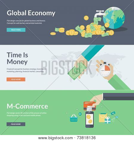 Flat design vector illustration concepts for business, finance, economy, investment, marketing, cons