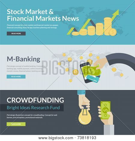 Flat design vector illustration concepts for business, finance, stock market and financial market ne