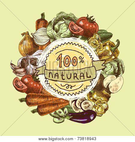 Vegetables sketch background