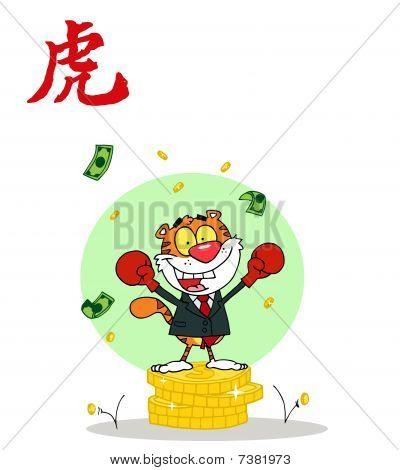 erfolgreiches Geschäft Tiger auf Münzen, mit einem Jahr der chinesische Tiger-Symbol