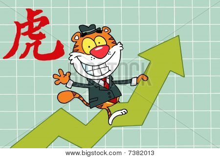 Successful Tiger Character Riding Up On A Statistics Arrow