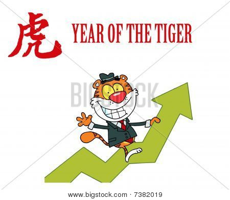 Successful Business Tiger On A Profit Arrow, With A Year Of The Tiger Chinese Symbol And Text