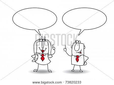 discussion. A businessman and a businesswoman are talking together. Write your message in the copy space