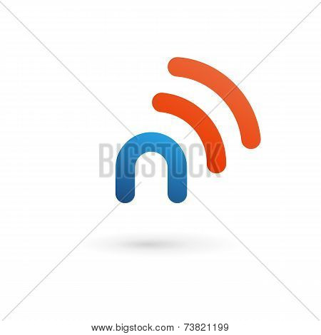Letter N Wireless Logo Icon Design Template Elements