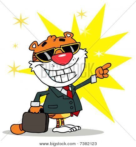 Cartoon Character Happy Tiger Pointing Towards Success,background