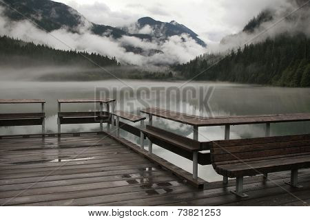 Mountain Lake Fog And Dock