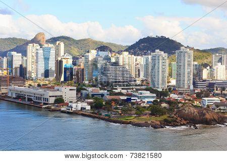 View Of Vitoria City Center Buildings,  River, Vila Velha, Espirito Santo, Brazil