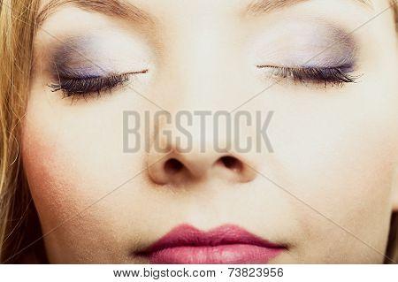 Closeup Beautiful Female Eyes With Make-up Visage.