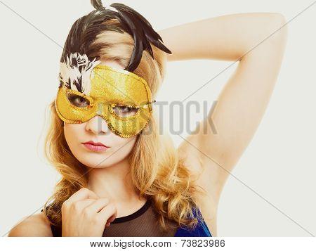 Masquerade. Beautiful Girl In Carnival Mask