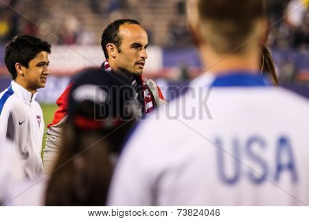 HARTFORD - OCTOBER 10: Landon Donovan #10 after match on US International Friendly match between US Men`s National Team vs Ecuador,  on October 10, 2014, in Rentschler Field stadium, Hartford, USA.