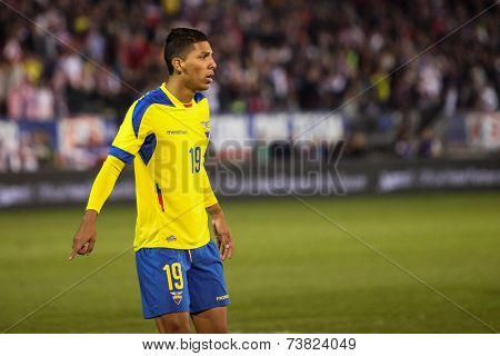 EAST HARTFORD, CT - OCTOBER 10:  Player #19 from Ecuador  against the United States during an international friendly at Rentschler Field on October 10, 2014 in East Hartford, Connecticut