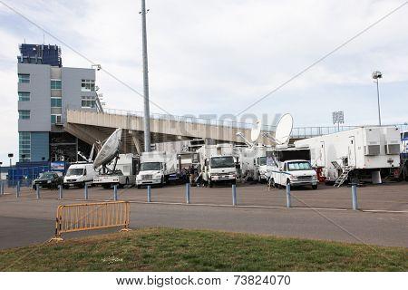 HARTFORD - OCTOBER 10: Media trucks outside Rentschler Field stadium between US Men`s National Team vs Ecuador, on October 10, 2014, in Rentschler Field stadium, Hartford, USA.