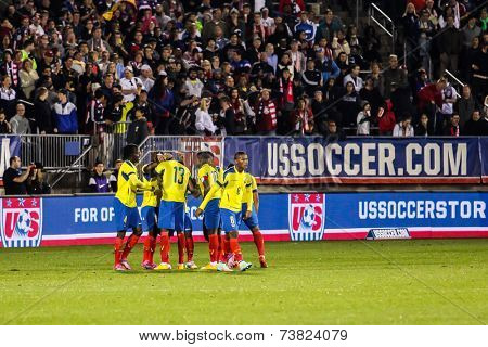 HARTFORD - OCTOBER 10:  Enner Valencia #13 of Ecuador celebrates with his teammates during an international friendly in East Hartford, Connecticut.