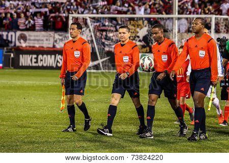 HARTFORD - OCTOBER 10: Referees on Rentschler Field stadium before soccer match between US Men`s National Team vs Ecuador, on October 10, 2014, in Rentschler Field stadium, Hartford, USA.