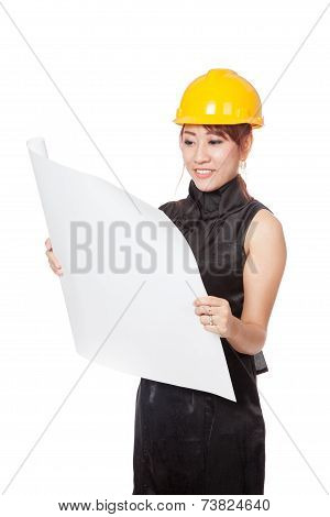 Asian Architect Girl Read A Blueprint And Smile