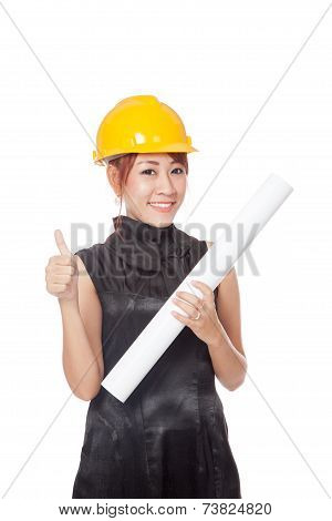 Asian Architect Girl Wear Hardhat And Show A Plan And Thumbs Up