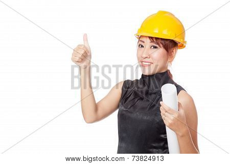 Asian Architect Girl Wear Hardhat And  Show Thumb Up