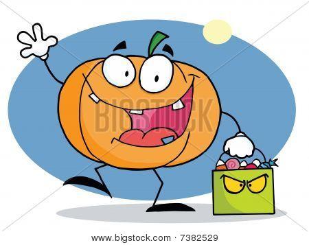 Cartoon character pumkin with bag