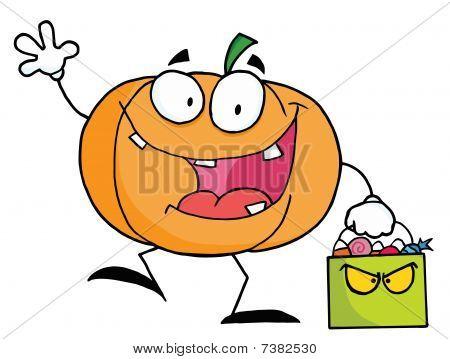 Cartoon pumkin with bag