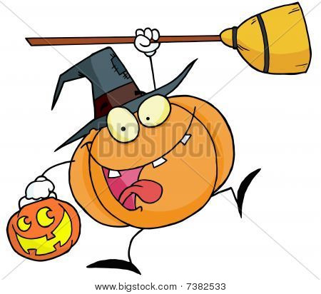 Cartoon character halloween happy pumkin with a broom