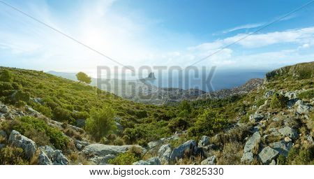 Beautiful view of the sea from the mountains
