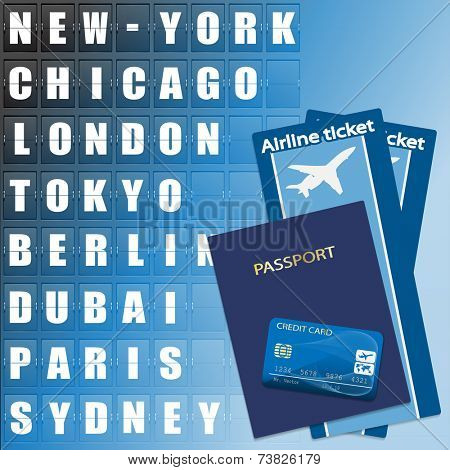 Airline ticket, credit card and passport on scoreboard background. Flight destination, information display board named world cities Illustration.