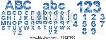 High resolution concept conceptual 3D blue water or ice font set or collection isolated on white background