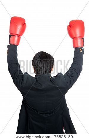 Asian Man Wear Boxing Gloves Raise His Hands Up